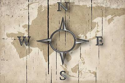 Drawing - Antique Nautical Compass Map  On Wood by Joy of Life Arts Gallery