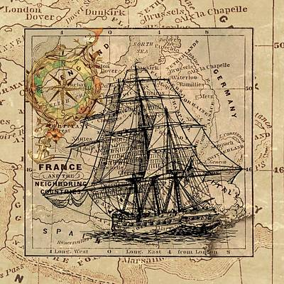 Drawing - Antique Nautical Ship Compass Map by Joy of Life Arts Gallery