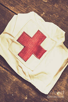 Clothing Photograph - Antique Nurses Hat With Red Cross Emblem by Jorgo Photography - Wall Art Gallery