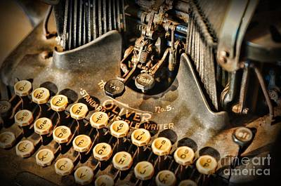 Typewriter Keys Photograph - Antique Oliver Typewriter by Paul Ward