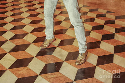 Photograph - Antique Optical Illusion Floor Tiles by Patricia Hofmeester