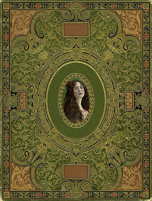 Photograph - Antique Ornate Book Cover - Green Gold And Brown by Peggy Collins