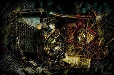 Steampunk Mixed Media - Antique photo camera by Lilia D