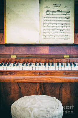 Print featuring the photograph Antique Piano And Music Sheet by Silvia Ganora