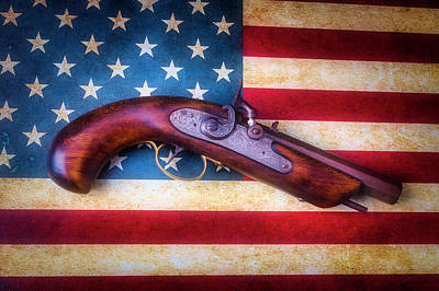 Photograph - Antique Pistole On American Flag by Garry Gay