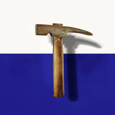 Photograph - Antique Plumb Masonry Hammer On Color Paper by YoPedro
