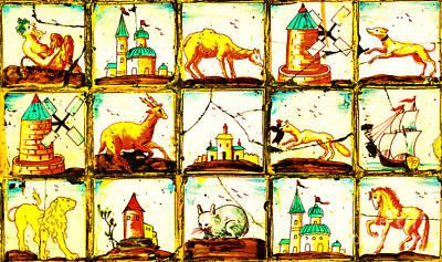 Ceramic Art - Antique Portuguese Folk Art Tile Mosaic Of Windmills Castles Camel Hound Deer Wolf Lion And Galleon by Peter Gumaer Ogden
