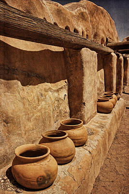 Photograph - Antique Pots At Mission Txt by Theo O'Connor