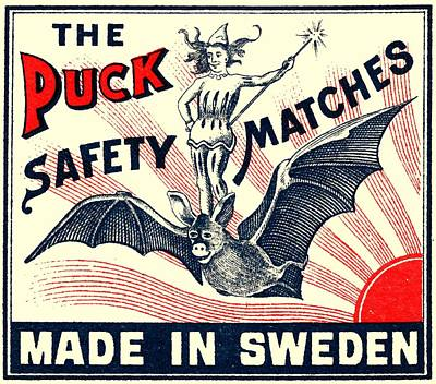 Antique Puck Riding Bat Swedish Matchbox Label Art Print