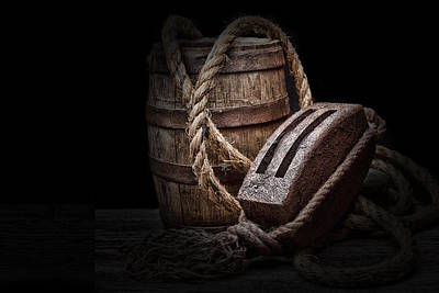 Ropes Photograph - Antique Pulley And Barrel by Tom Mc Nemar