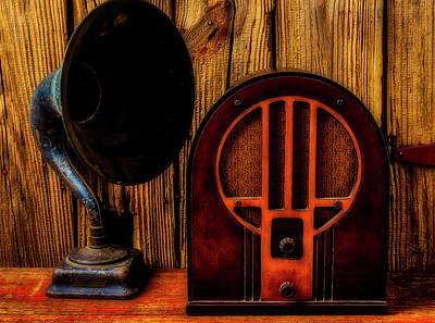 Photograph - Antique Radio And Speaker by Garry Gay