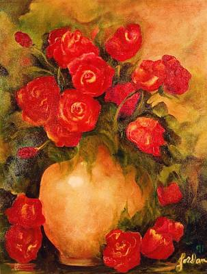 Painting - Antique Red Roses by Jordana Sands