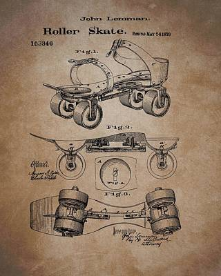 Drawing - Antique Roller Skates Patent by Dan Sproul