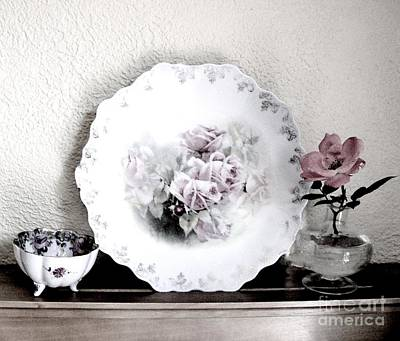Antique Roses Of Old Print by Marsha Heiken