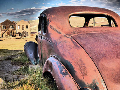 Photograph - Antique Rusted Red Car by Alan Socolik