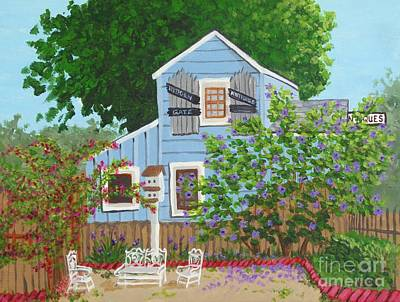 Rose Of Sharon Painting - Antique Shop, Cambria Ca by Katherine Young-Beck