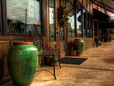 Outdoor Still Life Painting - Antique Shops by Ester  Rogers