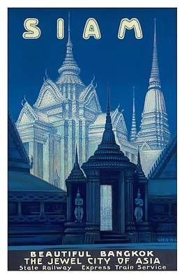 Temple Digital Art - Antique Siam Bangkok Temples Travel Poster by Retro Graphics
