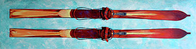 Slalom Painting - Antique Skis by Derrick Higgins