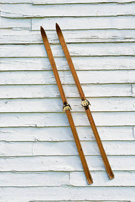 Photograph - Antique Skis On The Wall by Gary Slawsky