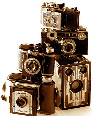 35mm Photograph - Antique Snapshot Cameras by L S Keely