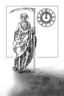 Drawing - Antique Souvenir - The Last Midnight by Attila Meszlenyi