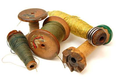 Loom Digital Art - Antique Spools by Richard Ortolano