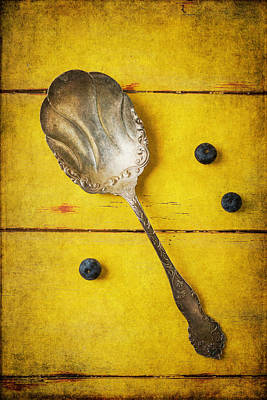 Photograph - Antique Spoon And Blueberries by Garry Gay
