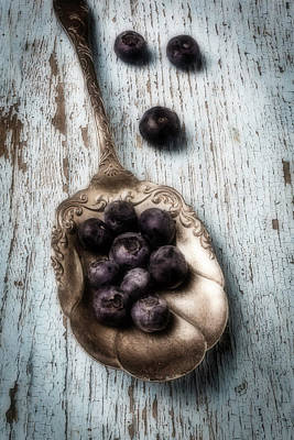 Silver Spoon Photograph - Antique Spoon And Buleberries by Garry Gay