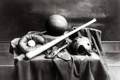 Antique Sports Equipment - American Athletics Art Print by Mark Tisdale