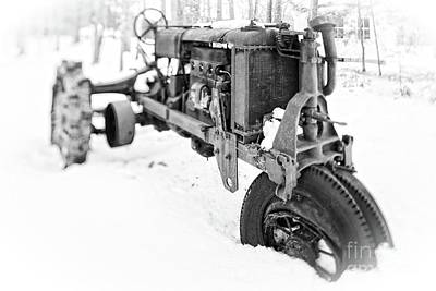 Photograph - Antique Steel Wheel Tractor Black And White by Edward Fielding