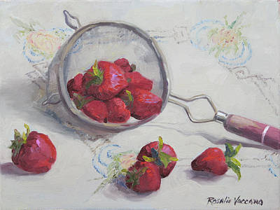 Needlepoint Painting - Antique Strainer With Strawberries by Rosalie Vaccaro