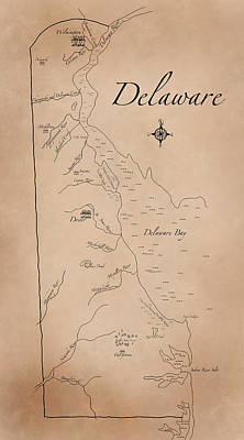 Antique Styled Map Of Delaware Art Print by Antique Cartography