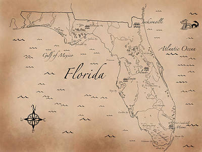 Antique Styled Map Of Florida Art Print by Antique Cartography