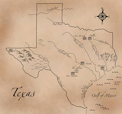 Antique Styled Map Of Texas Art Print by Antique Cartography