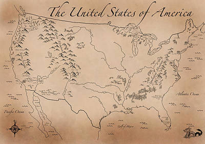 Antique Styled Map Of The U.s. Art Print by Antique Cartography