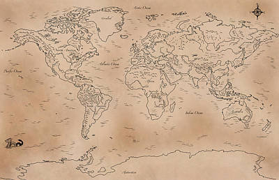 Physical Geography Drawing - Antique Styled World Map by Antique Cartography
