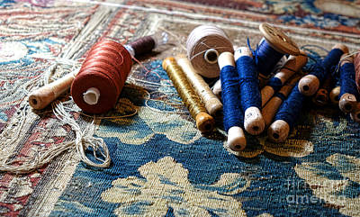 Tapestries Textiles Photograph - Antique Tapestry Repair  by Olivier Le Queinec