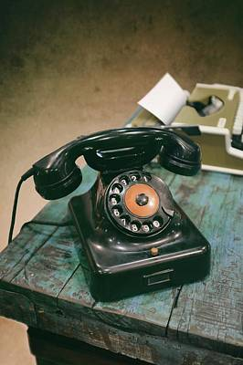 Still Live Photograph - Antique Telephone And Typewriter by Carlos Caetano