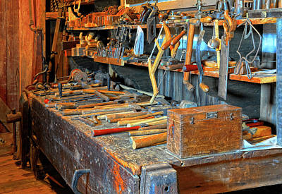 Antique Tool Bench Art Print by Dave Mills