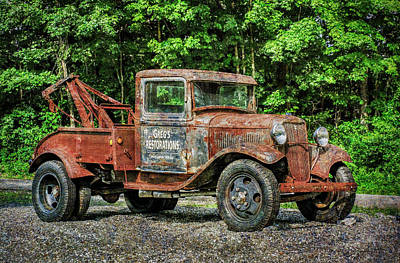 Photograph - Antique Tow Truck Signage by Betty Denise