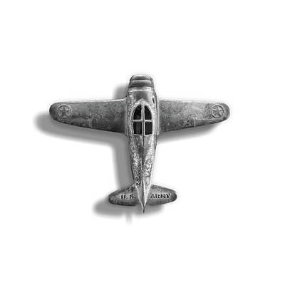 Photograph - Antique Toy Airplane Floating On White In Black And White by YoPedro