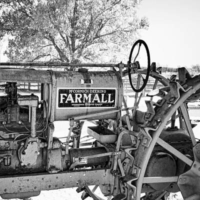 Photograph - Antique Tractor In Black And White - Photography By Ann Powell by Ann Powell