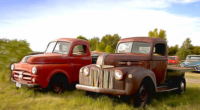 Photograph - Antique Trucks Along The Road Montana by Carol Highsmith
