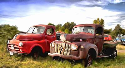 Photograph - Antique Trucks Along The Road Montana Digital by Floyd Snyder