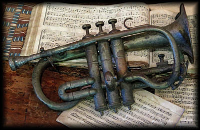 Photograph - Antique Trumpet by Dave Mills