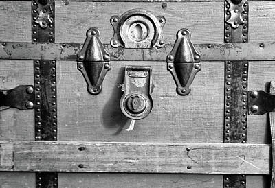 Photograph - Antique Trunk Face Detail 4 Bw by Mary Bedy