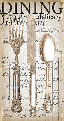 Utensil Painting - Antique Utensils For Kitchen And Dining In White by Grace Pullen