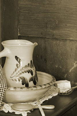Photograph - Antique Vanity Set And Stoneware Water Pitcher In Sepia Tones by Colleen Cornelius