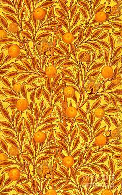Tapestry - Textile - Antique Victorian Tapestry With Honey Butterscotch Golden Oranges Birds And Leaves by Peter Ogden Collection